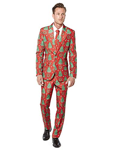 Suitmeister Christmas Suits for Men in Different Prints - Ugly Xmas Sweater Costumes Include Jacket Pants & - Tuxedo Christmas