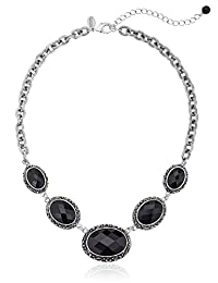 """1928 Jewelry Antiqued Silver-Tone Oval Black Stone Collar Necklace, 16"""" + 3"""" Extender"""