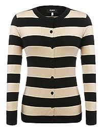 Zeagoo suéter de Punto Suave de Manga Larga con Botones para Mujer