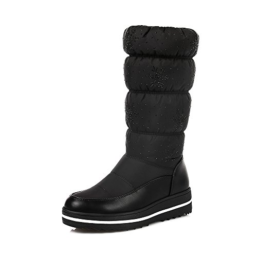 Ladies Slip-On Round Toe Flat Space Cotton +Down Women Snow Boots Fashion Blue Black Mid-Calf Warm Boots Black