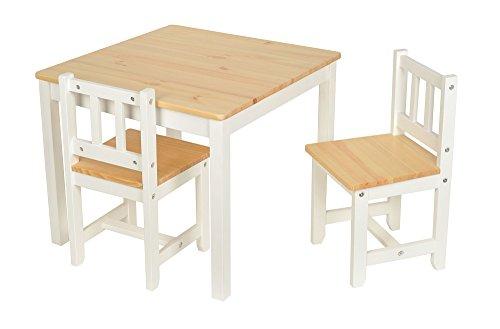 Set tavolino 60 x 60 cm con 2 sedie per bambini in legno di abete colore bianco e legno naturale - Tavolino con sedia per bambini ...