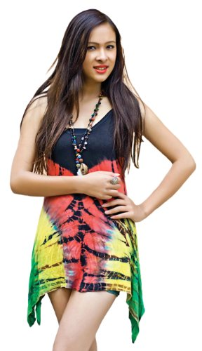 Rasta Handmade Tie Dye, Scoop Neck Top, High Low Hem, Extended Side Panels