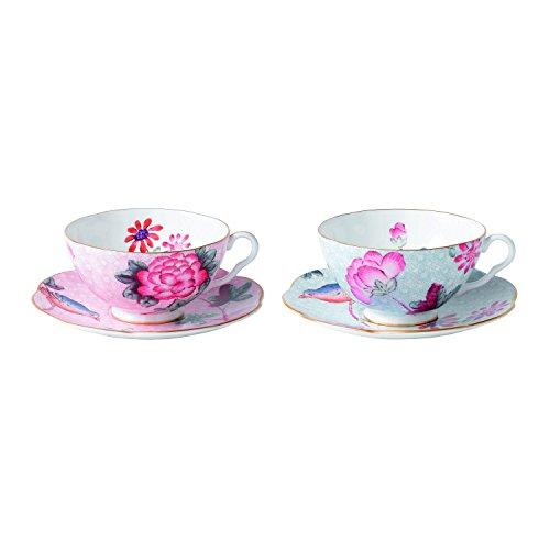 (Wedgwood Cuckoo Tea Story Teacup and Saucer, Pink/Blue, Set of 2)