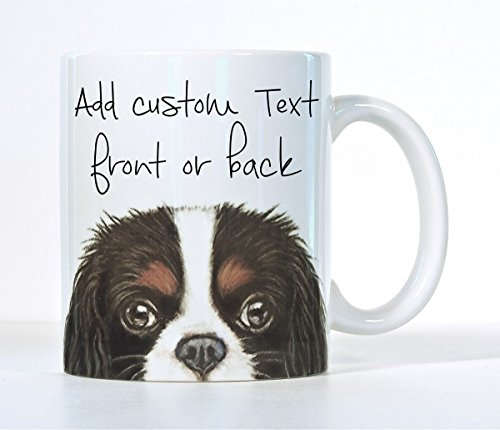(Cavalier King Charles Spaniel Coffee Mug, Tri-Color, Black, Ruby OR Blenheim Cavalier Color, Customizable Gift, Add A Name or Message)