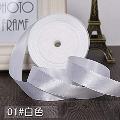 """Jammas 25yards Width 3/4"""" 20mm White Beige Silk Satin Ribbon Wedding Party Headband Invitation Card Gift Wrapping Supplies Riband DIY - (Color: White, Size: 20mm): Garden & Outdoor"""