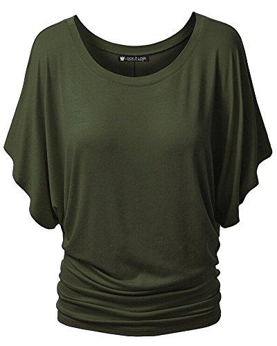Moollyfox Mujeres Casual Cuello Redondo Mangas Cortas La Camisa Ejército Verde