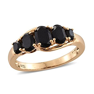 hot sell Black Spinel 14K Yellow Gold Plated Silver 5 Stone Ring 2.3 cttw Size 7 for cheap