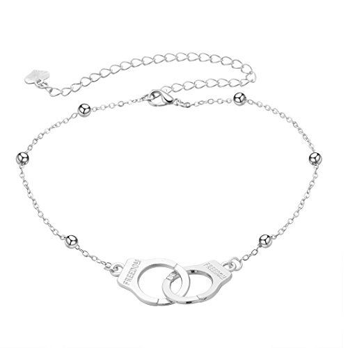 chengxun Pursueing Freedom Handcuff Charms Anklet Bracelet Girls Silver Boho Beach Foot Chain Heart Wafer