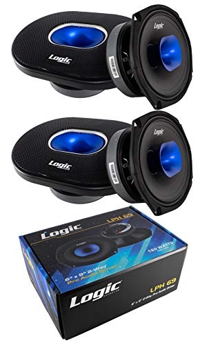 4X 6 x 9 Pro Car Audio Speaker Mid Range Compression Driver 4 Ohm 640W Logic LPH69