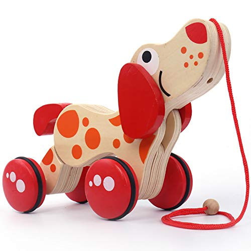 (preliked Children Funny Wooden Animal Pull Rope Cartoon Dog Puppy Drag Car Toy Baby Gift)