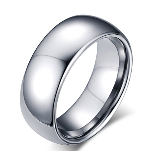 8mm White Tungsten Carbide Ring for Men High Polished Comfort Fit Domed Wedding Band Size 4-15 - Ring 8mm Tungsten Wide