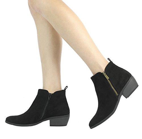 TOETOS Damen Cowboy Blockabsatz Seitlicher Reißverschluss Ankle Booties Schwarzes Wildleder