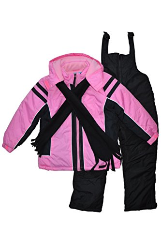 Snowsuits for Kids Girl's 3-Piece Fleece Lined Active Snowsuit (6X, Pink)