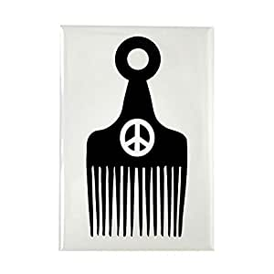 """CafePress - Afro Hair Peace Rectangle Magnet - Rectangle Magnet, 2""""x3"""" Refrigerator Magnet"""