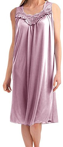 EZI Women's Faux Silk and Lace Sleeveless Nightgown,Light Pink,M (Silk Nightgown Pink)
