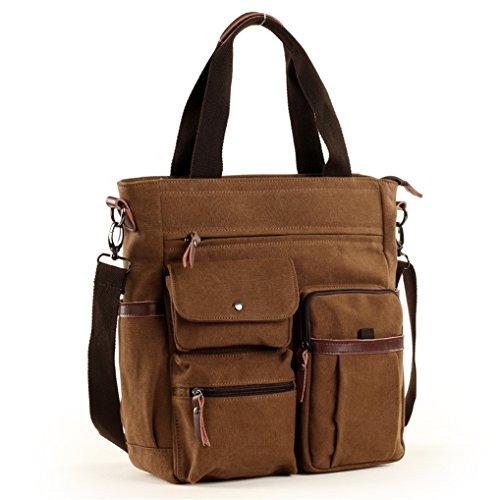 Gumstyle® Men's Vintage Canvas Laptop Messenger Shoulder Bag Handbag For Business College Coffee