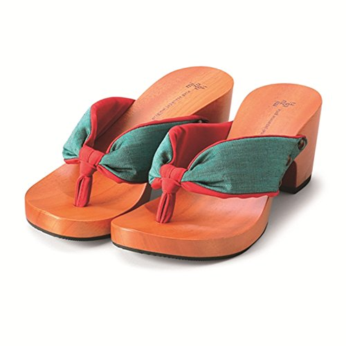 Japanese Style Sandals with a Wooden Platform and Green & Red Cloth (6½)