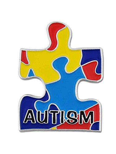 (PinMart Autism Awarness Multi Color Puzzle Piece Enamel Lapel)