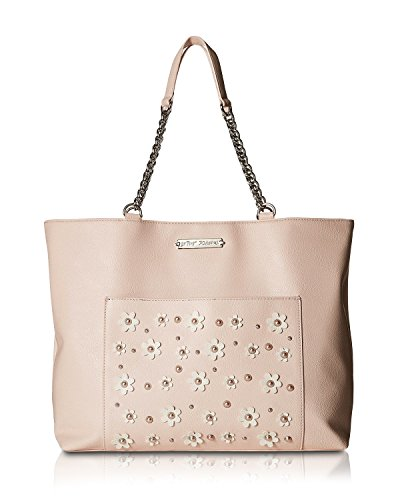 Betsey Johnson Blush Faux Pearl Daisy Detail Bag In A Bag Pebble Faux Leather Tote Shoulder Bag