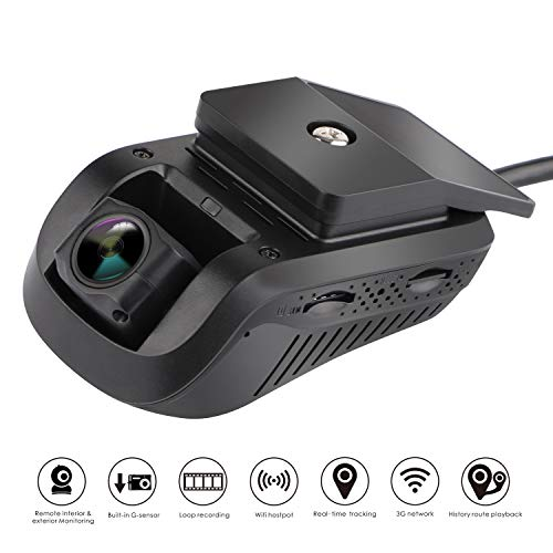 (Dual Dash Cam - MiCODUS Dash Cam Front and Rear NO Monthly Fee Full HD 1080P 140-degree Wide-Angle DVR, WDR, Live Video Streaming with GPS Tracker)
