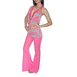 2Pcs:Ladies Exotic Belly Dance Cropped Tank Top & Pant S-M Pink & Gray