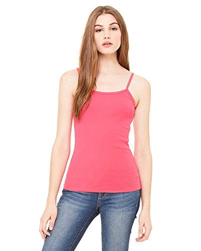 Bella Women's 5.8 oz. Cotton Baby Rib Spaghetti Strap Tank Top (L / FUSCHIA)
