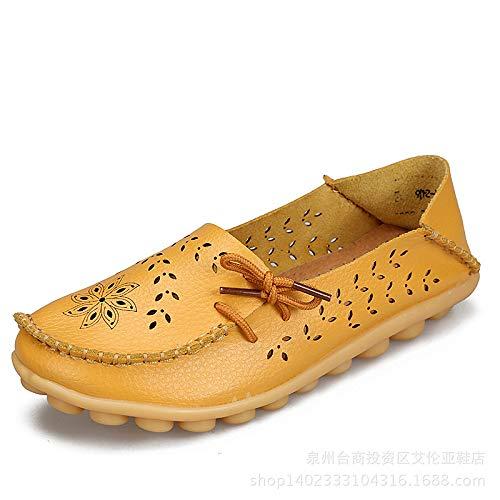 ZHRUI Mocassini da donna di grandi dimensioni in pelle scava fuori le scarpe piatte morbide comfort da lavoro infermiere (Colore : Marrone, Dimensione : EU 41) Giallo