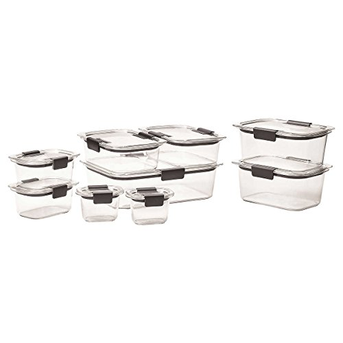 Rubbermaid Brilliance 18-Piece Stain and Odor Resistant, Dishwasher, Microwave and Freezer Safe, 100% Leak-Proof, Crystal Clear Food Storage Container Set
