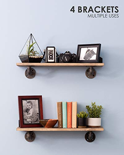 Rustic Industrial Pipe Brackets Floating Shelves by Pipe Decor, Distressed Aged Wood Paired with Iron Pipes Bracket, Wall Mounted Hanging Shelf, Reclaimed and Barn Wood Inspired, 24 Inch Grey 2 Pack by PIPE DÉCOR (Image #5)