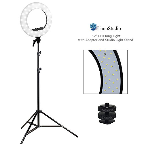 LimoStudio 12 inch Diameter Dimmable Continuous Round LED Ring Light, Beauty Facial Shoot, Smartphone, Youtube, Vine Self-Portrait, Light Stand Tripod, Camera Mount Adapter, Photo Studio, AGG2203V2