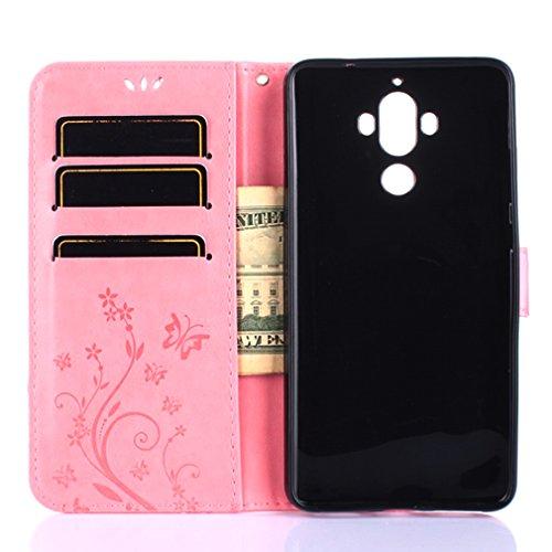 Yiizy Huawei Mate 9 Custodia Cover, Erba Fiore Design Sottile Flip Portafoglio PU Pelle Cuoio Copertura Shell Case Slot Schede Cavalletto Stile Libro Bumper Protettivo Borsa (Rosa)