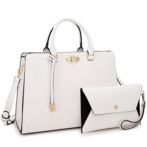 Women's Fashion Handbags Tote Purses Shoulder Bags Top Handle Satchel Purse Set 2pcs (0023- White New) ()