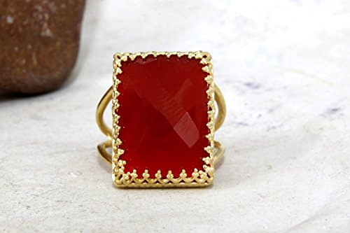 - red onyx ring,statement ring,large cocktail ring,gold wide ring,large gemstone ring,red faceted ring,double band ring