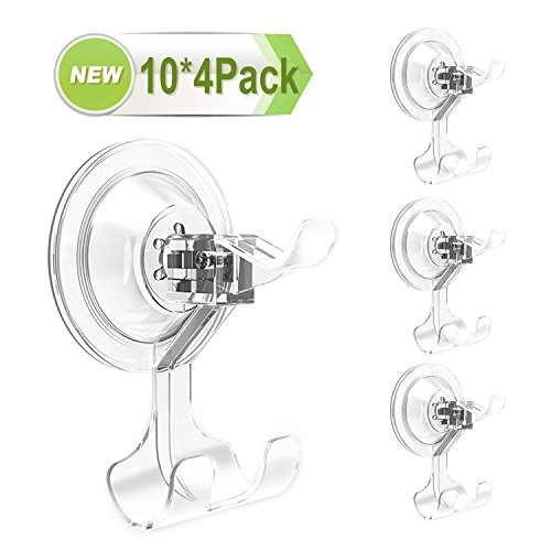 Suction Hooks, Razor Holder Super Heavy Duty Suction Cup Hooks for Bathroom Kitchen Living Room Home to Hang on Towel, Razor, Bath Brushes, Kitchen Ware. (10 multipy 4 Pack)