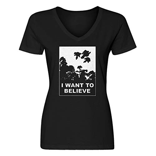 Indica Plateau Vneck I Want to Believe Super Girls Medium Black Womens -