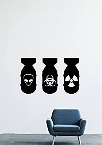 Bio Hazzard Bombs Alien Radiation Nuclear Explosion Wall Decals Decor Vinyl Stickers LM0840 (Nuclear Bomb Decal)