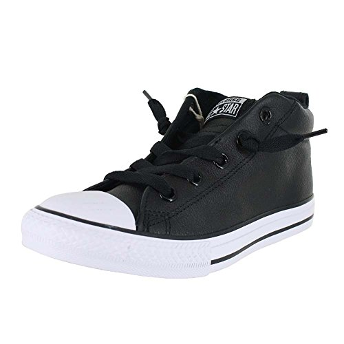 Converse Kids All Star Street Mid Shoes Leather Black White Size 5.5 by Converse
