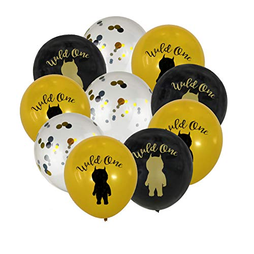 (Wild One Gold Black Pinted Confetti Balloons For Baby First Birthday Party Supplies Backdrop Photo Booth Props Party)