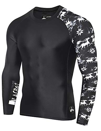 - LAFROI Men's Long Sleeve UPF 50+ Baselayer Skins Performance Fit Compression Rash Guard-CLYYB