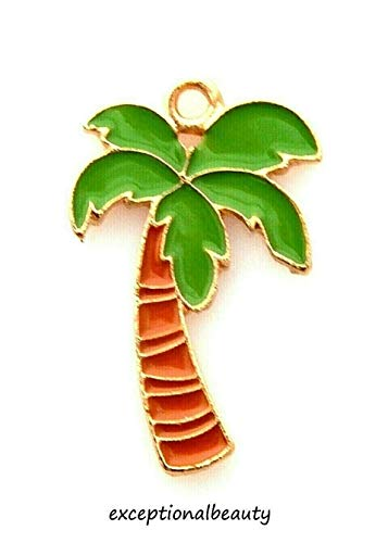 Gold Enamel Palm Tree - 5 Green Brown Enamel Palm Tree Bead Drop Charms Pendants