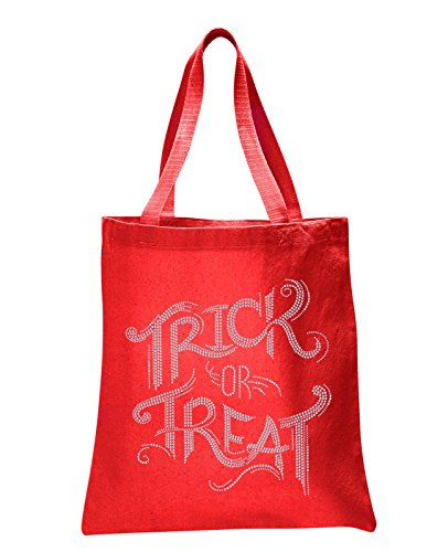 Red Trick or Treat Halloween Rhinestone Tote bag Trick or Treat Tote bag party gift sweet bag fancy dress ghost -