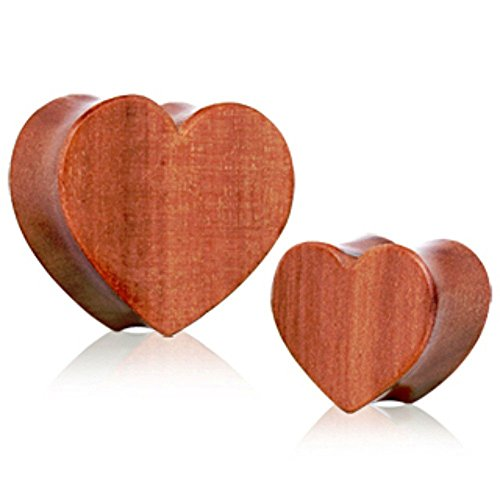 (Dynamique Pair of Heart Shape Organic Red Cherry Wood Double Flared Plugs)