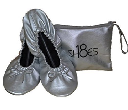 Shoes 18 Women's Foldable Portable Travel Ballet Flat Shoes w/Matching Carrying Case (9/10, Silver sh18-1)