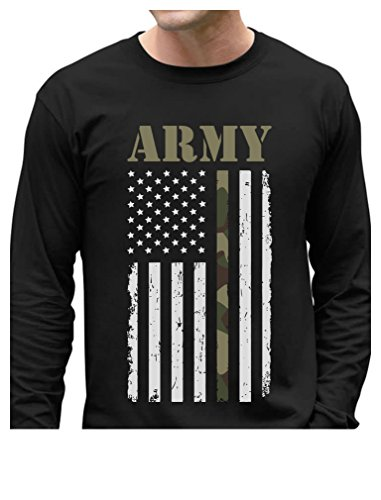 Big USA Army Flag - Gift for Soldiers, Veterans Military Long Sleeve T-Shirt Large Black