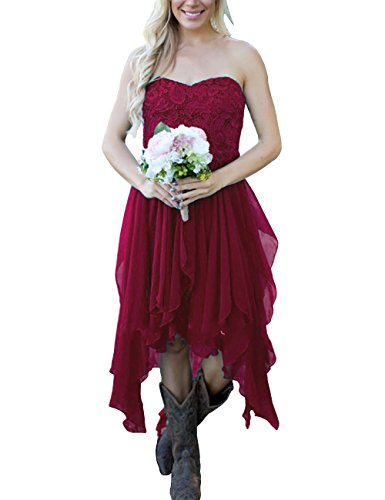 Lace High Bridesmaid Party Prom Crimson Women DYS Dresses Low Sweetheart Dress s WAqR4E