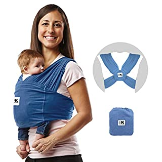 Baby K'tan Original Baby Wrap Carrier, Infant and Child Sling - Simple Pre-Wrapped Holder for Babywearing - No Tying or Rings - Carry Newborn up to 35 lbs, Denim, Women 6-8 (Small), Men 37-38