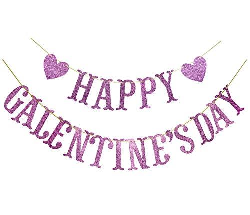 Happy Galentines Day Glitter Banner, Valentines Day Banner, Galentine, Valentine Party Decorations (Pink)