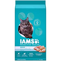 Keep your cats at their best with IAMS PROACTIVE HEALTH Adult Indoor Weight & Hairball Care Dry Cat Food with Chicken & Turkey—a chicken-first recipe designed to help reduce hairballs before they start, and to help your indoor cat mai...