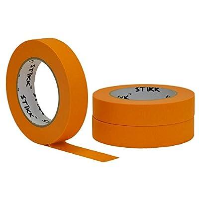 "3 pk 1"" inch x 60yd STIKK Orange Painters Tape 14 Day Clean Release Trim Edge Finishing Decorative Marking Masking Tape (.94 in 24MM)"