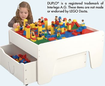 CP Toys Activity Table with Trundle Drawer for Preschool Building Bricks